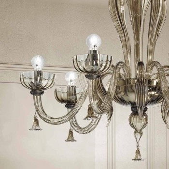 6 Lustre de vidro veneziano claro, feito à mão na Itália - Regina