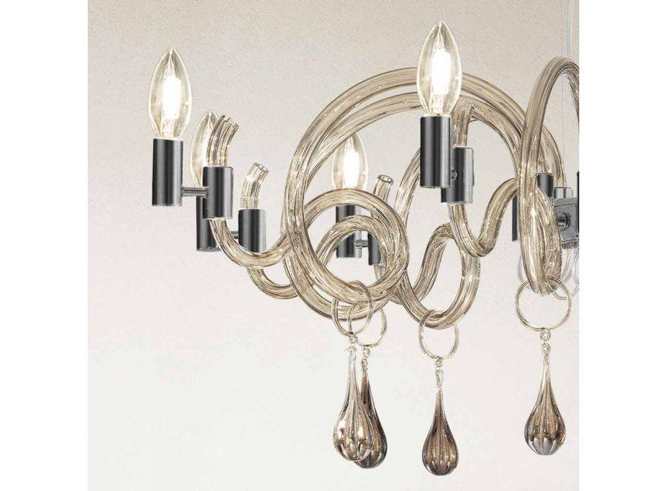 9 Lustre de vidro leve feito à mão em Veneza, feito na Itália - Bernadette