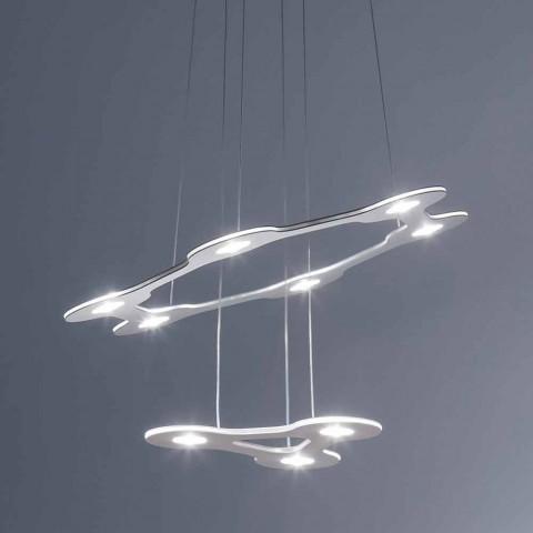 Lustre de 9 Luzes em Alumínio Fino Pintado Made in Italy - Flash