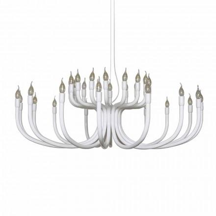 Lustre Suspenso com 16 ou 32 Luzes em Alumínio Branco ou Preto - Alviso