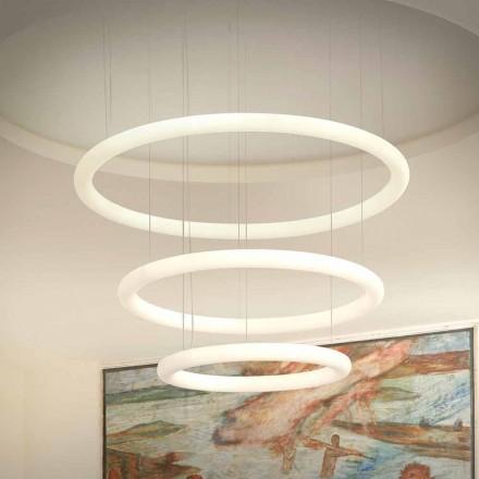 Lustre de design LED branco com roseta de metal feito na Itália - Slide Giotto