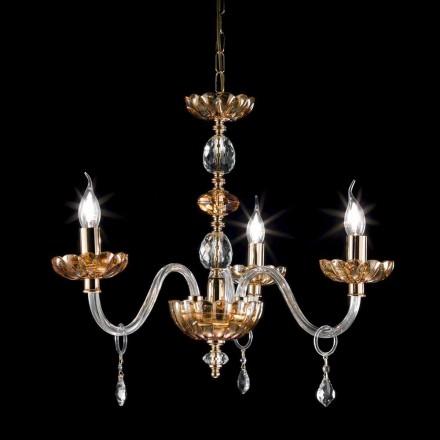 Design clássico 3 luzes lustre de vidro e cristal Belle