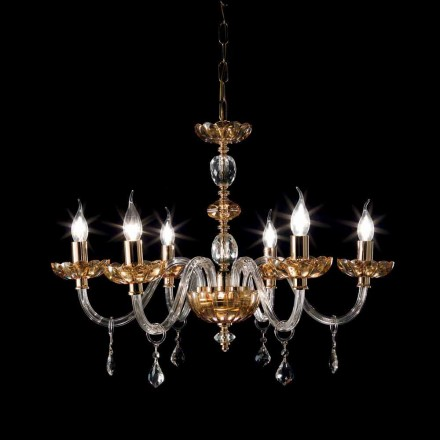 Lustre de 6 luzes em cristal e vidro Belle, design clássico