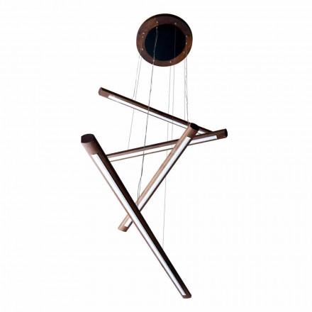 Um lustre de design de 4 peças em madeira Grilli York made in Italy