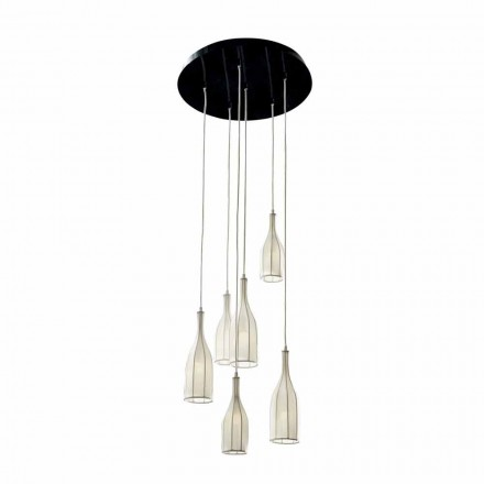 Lustre de design com 6 abajures Grilli Mathusalem made in Italy