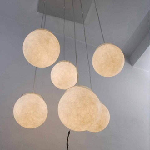Lustre design moderno In-es.artdesign Sei Lune in nebulite