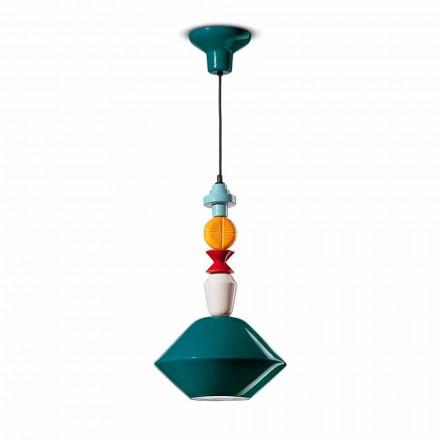 Lâmpada de suspensão de cerâmica verde ou amarela fabricada na Itália - Ferroluce Lariat