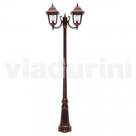 Lâmpada de duas luzes ao ar livre feita com alumínio, fabricada na Itália, Aquilina