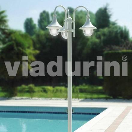 Poste de luz de três luzes ao ar livre em alumínio branco, fabricado em Itália, Anusca