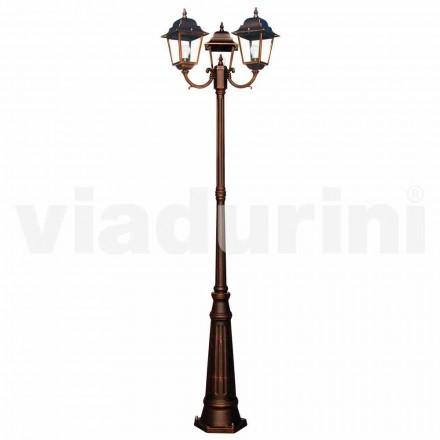 Poste de luz de três luzes clássico ao ar livre, produzido na Itália, Aquilina