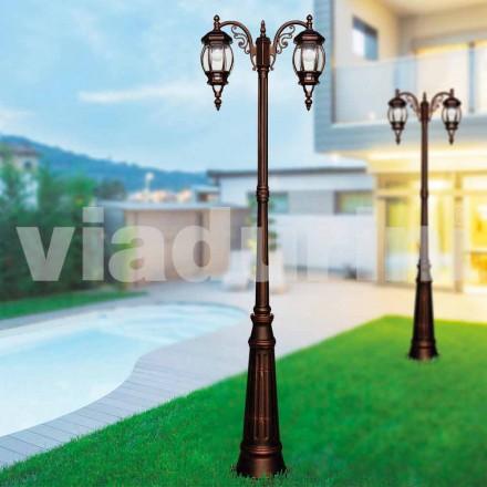 Poste de luz ao ar livre clássico feito com alumínio fundido, feito na Itália, Anika