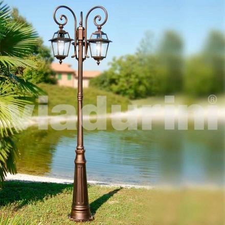 Poste de luz de três luzes de jardim feito de alumínio, feito na Itália, Kristel