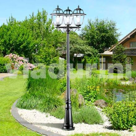 Poste de luz de três luzes de jardim clássico feito com alumínio, Kristel