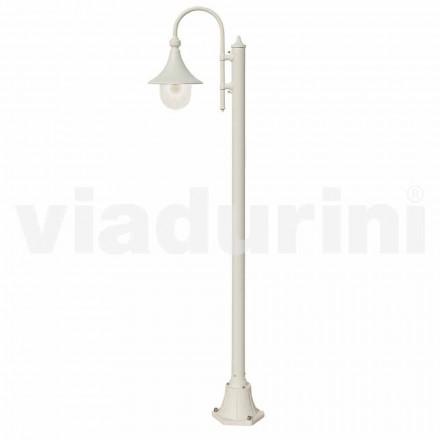 Poste de luz em alumínio fundido branco para jardim, fabricado em Itália, Anusca