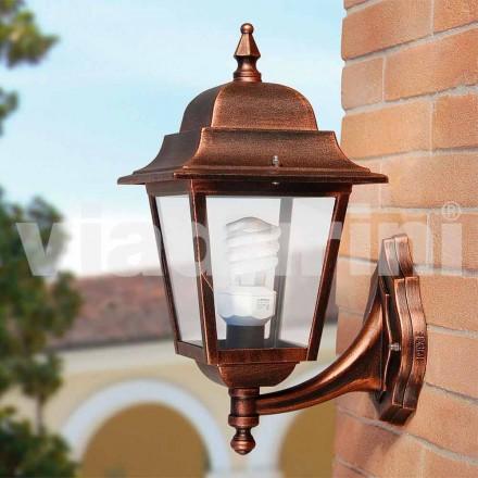 Lanterna de parede de jardim feita de alumínio, feita na Itália, Aquilina