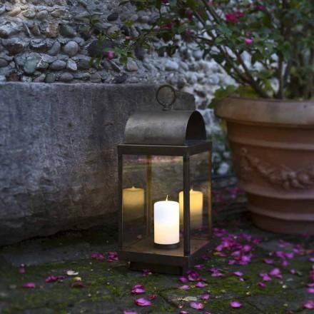 Ferro ao ar livre e lanterna de latão com vela Il Fanale