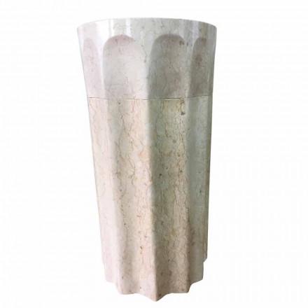 Pedra natural lavatório autônomo branco cor Daisy, peça única