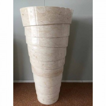 Pia do banheiro de design em pedra Brent branca, peça única