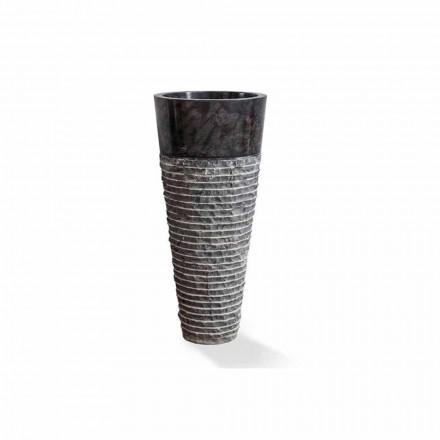 Lavatório de coluna de design moderno em mármore preto brilhante - Merlo