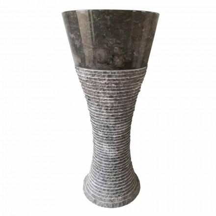 Lavatório autônomo de pedra natural cinza escuro Fara, peça única