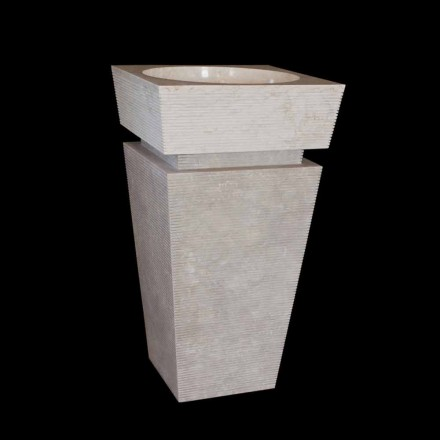 Lavatório autoportante de pedra natural branco Sire