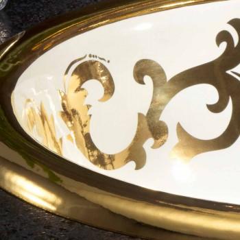 Lavatório embutido decorado em argila de fogo e ouro feito na Itália, Otis