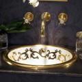 Built-in decorado pia em argila de fogo e ouro 24k made in Italy, Otis