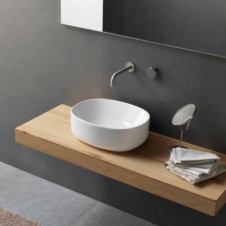 Lavatório Oval de Bancada com Design Moderno em Cerâmica Branca - Ventori2