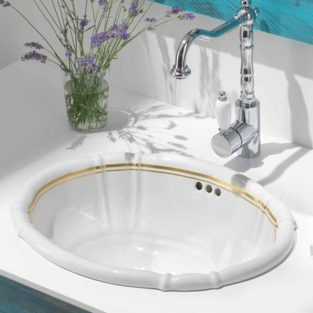 Pia de banheiro embutida em porcelana e ouro de 24 quilates, Santiago