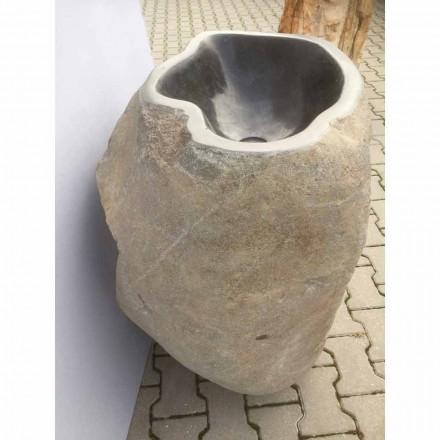 Lavatório autoportante de design feito de pedra natural Mare, peça única