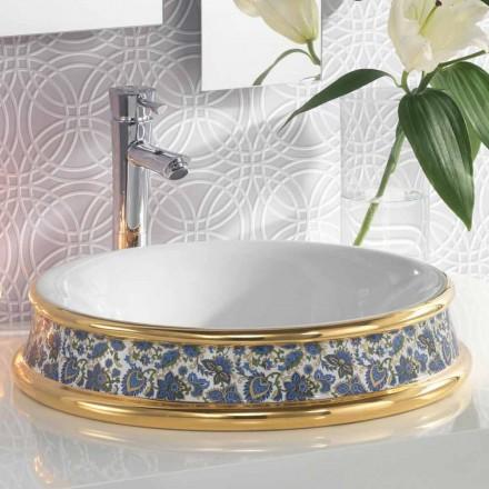 Pia do banheiro semi-recesso em argila fogo / ouro 24k made in Italy, Manilo