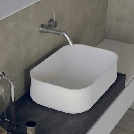 Lavatório de bancada retangular branco de design moderno - Tulyp2