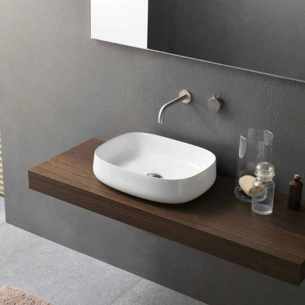Lavatório de bancada de cerâmica branca com design moderno feito na Itália - Tune2