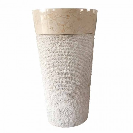 Pia de autoportante de design de pedra branca Natural Siro, peça única