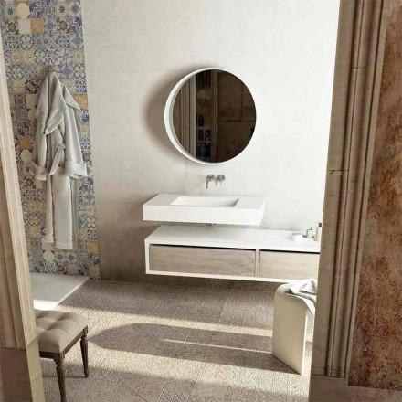 Top com pia central integrada para banheiro Gemona, feita na Itália