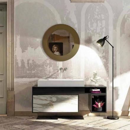Tampo da casa de banho com lavatório integrado centralmente em Luxolid Voghera