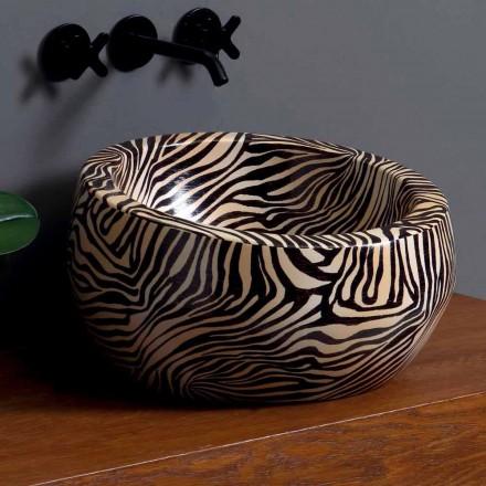Lavatório de bancada circular moderna em cerâmica feita na Itália Elisa