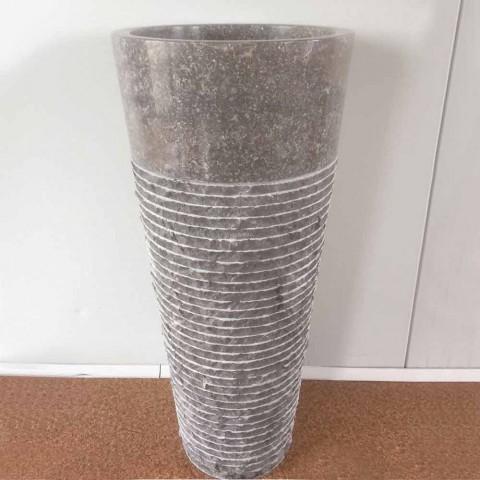 Lavatório de coluna cônica em pedra natural Iga, peça única