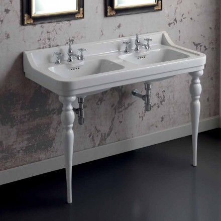 Console de lavatório de pia dupla cerâmica clássica, feita na Itália, Swami