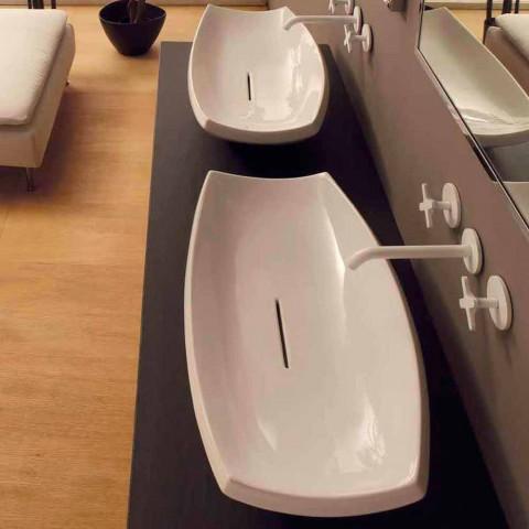 Lavatório de cerâmica branca com design moderno feito na Itália Laura