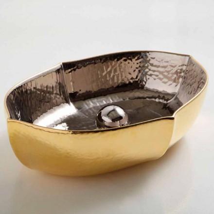 Lavatório de bancada em cerâmica de ouro e platina Oscar, fabricado em Itália