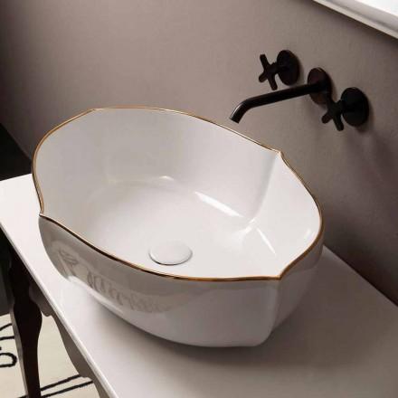 Bacia de cerâmica branca Oscar com borda dourada, fabricada na Itália
