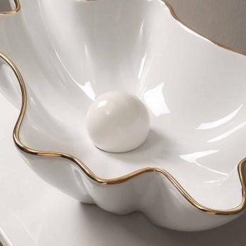 Lavatório de design em cerâmica de ouro branco cerâmico feito na Itália Rayan