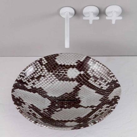 Pia de bancada de cerâmica moderna animais, cobra padrão, feita na Itália