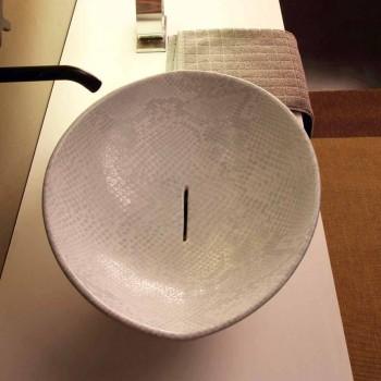 Lavatório de bancada de design de pele de cobra cerâmica branca fez animais de Itália