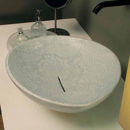 Bancada de cerâmica branca Animais com padrão de pele de cobra, fabricados na Itália