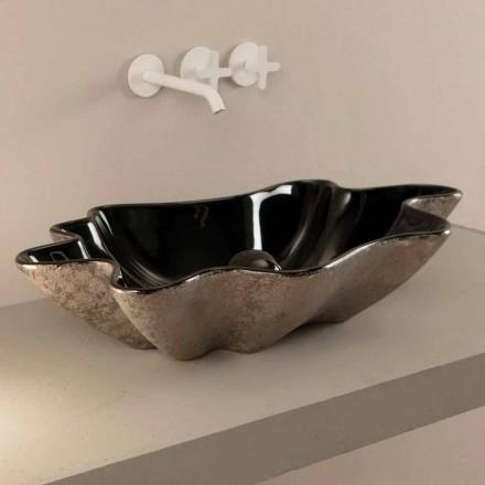 Cuba de bancada preta e prata Rayan, feita na Itália, design moderno