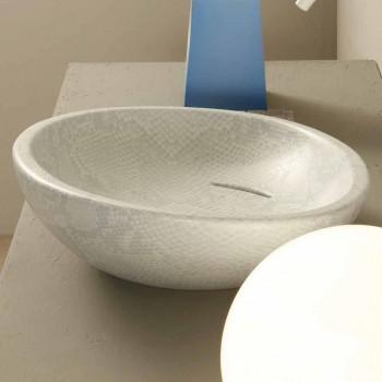 Pia de cerâmica branca Python design feita na Itália brilhante