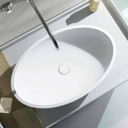 Lavatório oval de bancada de design produzido 100% na Itália, Frascati
