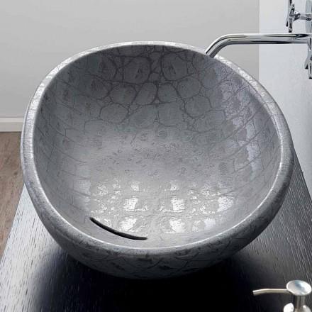 Lavatório de apoio em cerâmica com impressão de coco cinzento